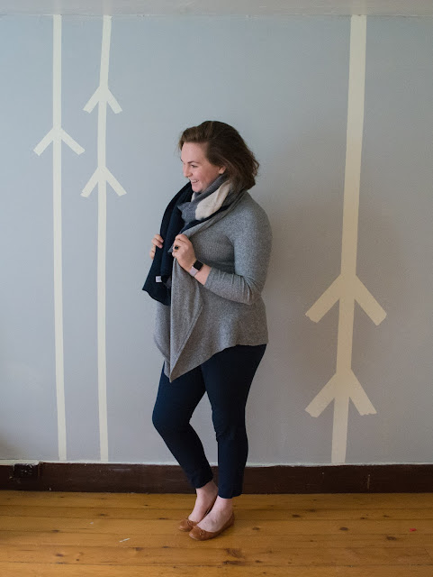 navy, gray, outfit, ootd, bobeau cardigan, pixie pants, cognac flats, navy scarf, plaid scarf, bp scarf, nordstrom
