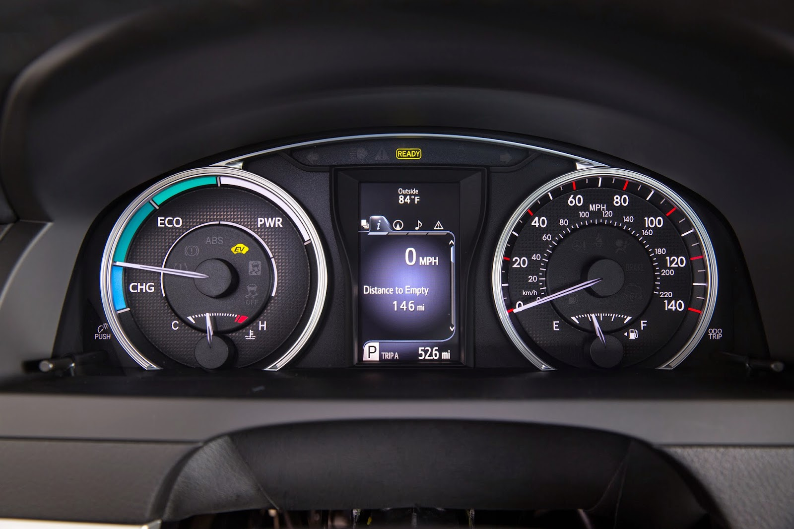 Gauge cluster of 2015 Toyota Camry Hybrid
