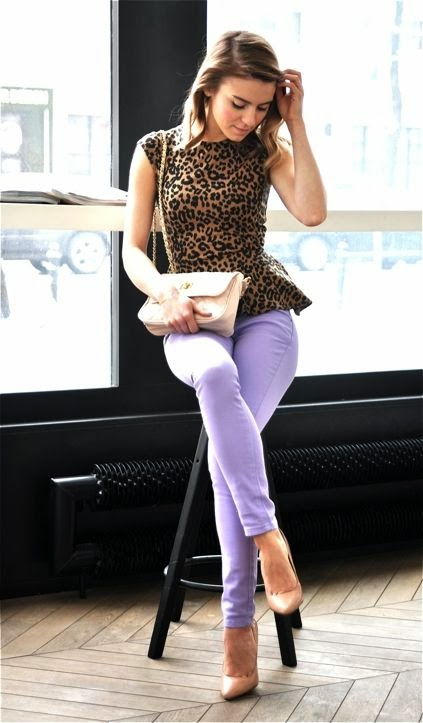 Peplum Leopard Sleeveless Shirt With Dark Pastel Purple Jeans