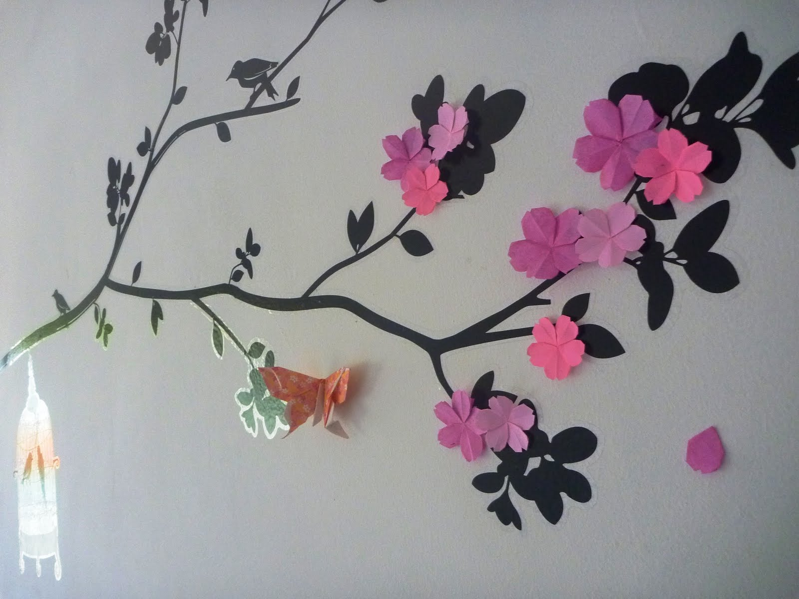 Origami Sakura Continuation I Tried My Very Best To Fill Up The Whole Tree On Wall With Sakuras However Only Managed Make A Few