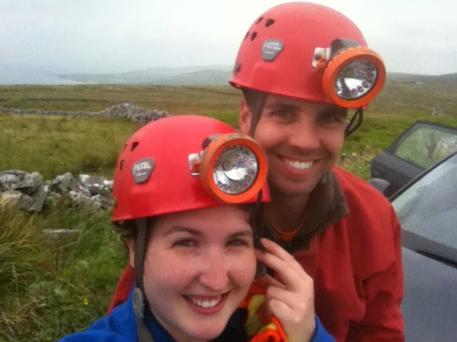 Cory and Sara, Ready for Caving Poll na Grai, The Burren, Co. Clare, Ireland