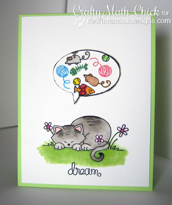 Kitty Daydream card by Crafty Math-Chick for Newton's Nook Designs - Newton's Daydream Cat stamp set