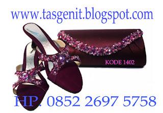 tas pesta payet, sandal pesta, tas pesta dan sandal pesta wanita