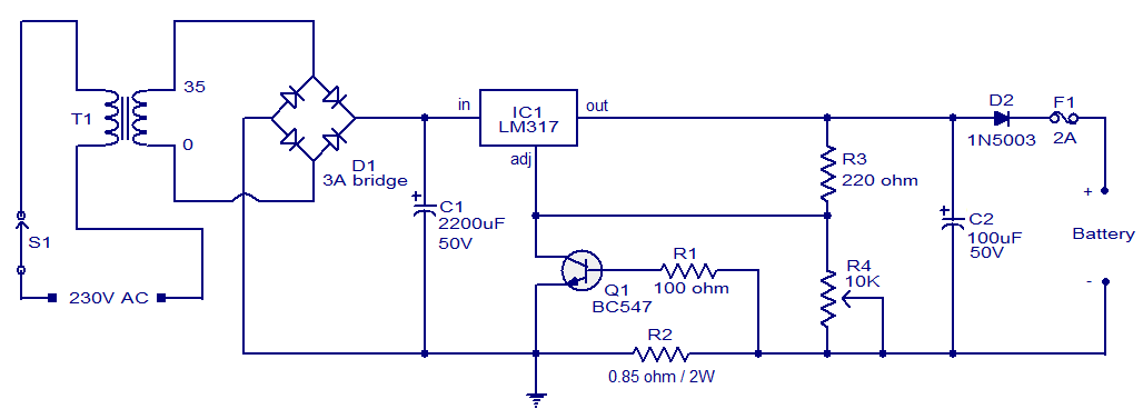 variable voltage regulator circuit diagram ireleast info 24v 7ah lead acid battery charger circuit audio wiring diagram wiring circuit