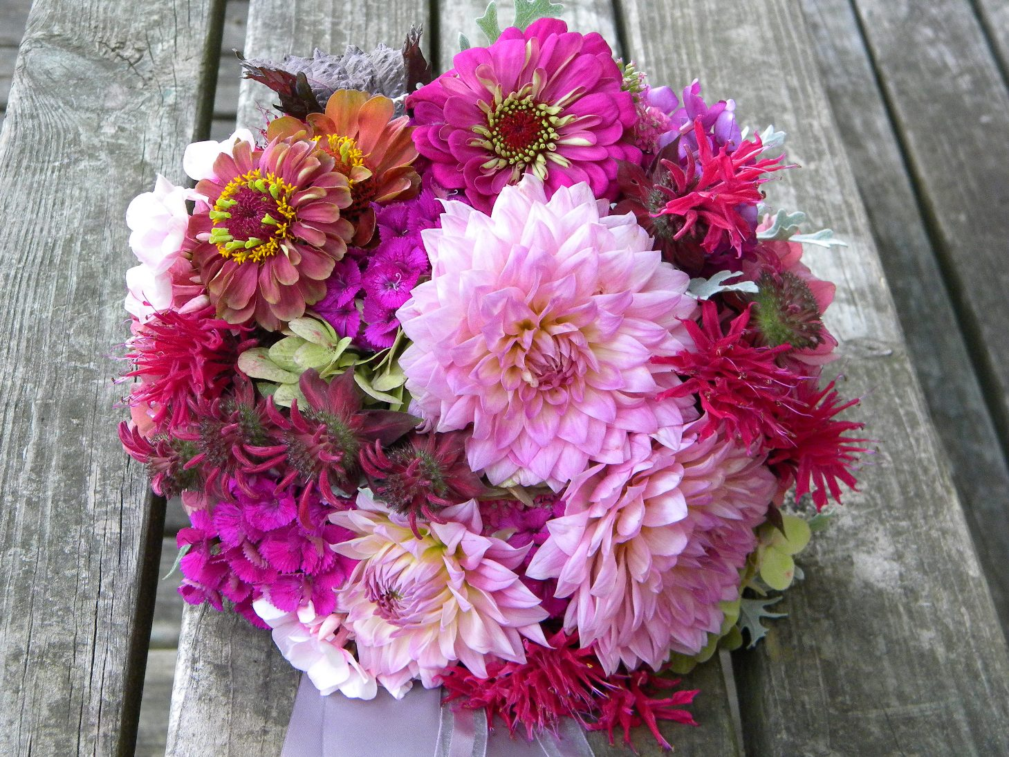 Wedding Flowers From Springwell Summery Pink Dahlia And Zinnia Bouquet