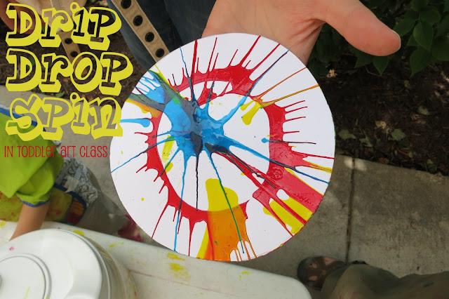 http://librarymakers.blogspot.com/2013/07/toddler-art-class-drip-drop-spin.html