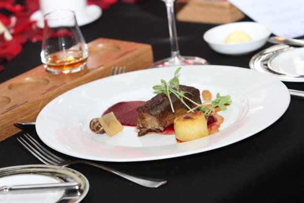 48 hours braised Black Angus Aberdeen beef short rib, accompanied with hay-crusted beetroot puree, date, apple, cinnamon, smoked potato bouchon, perfected with Glenfiddich gel & beef jus.