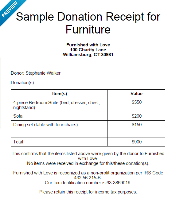 Donate – Sample Donation Receipt