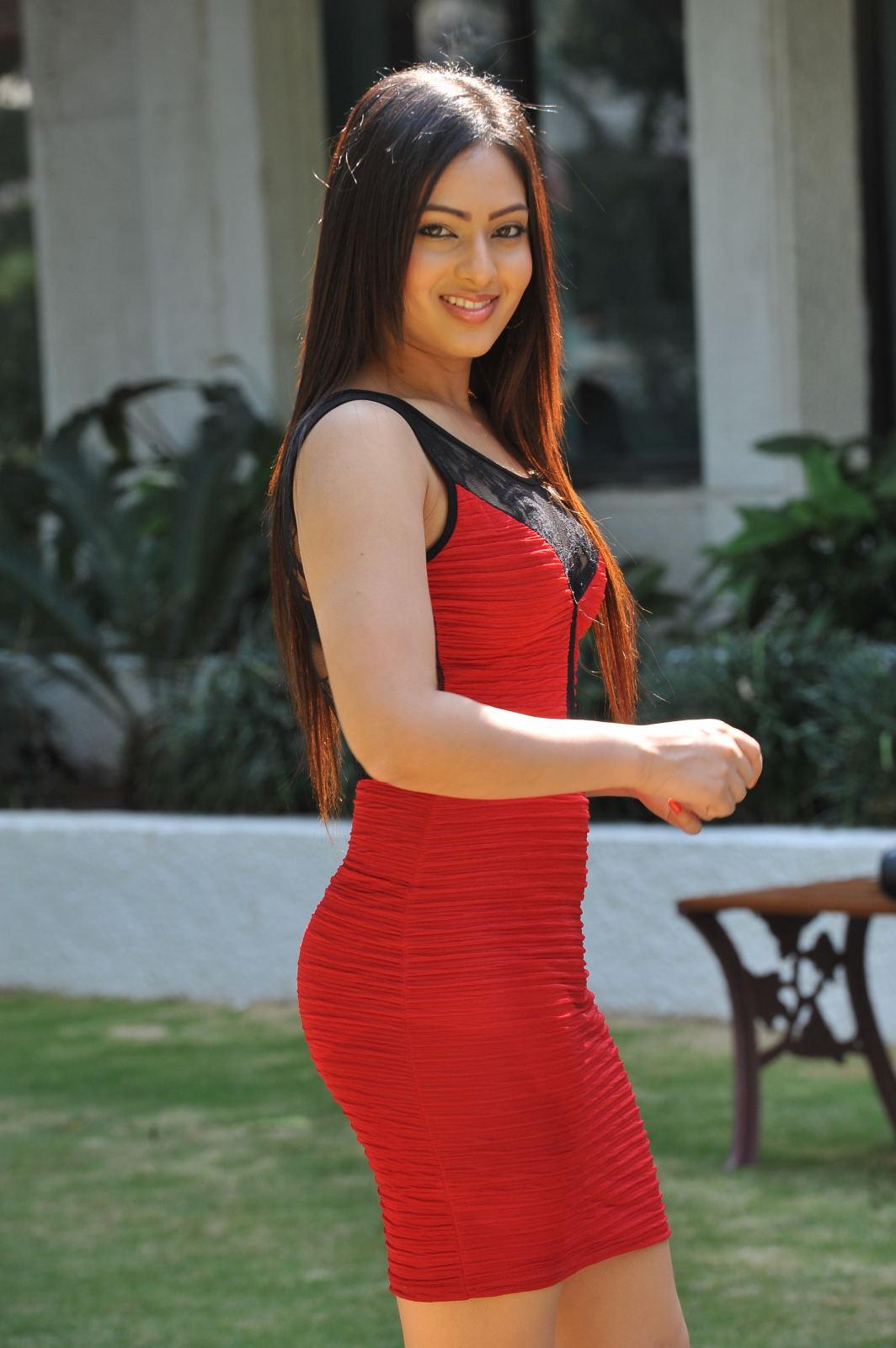 Nikesha patel photoshoot in red dress