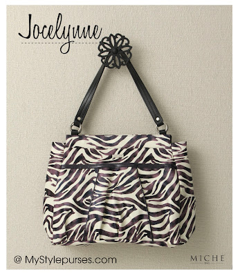 Miche Bag Jocelynne Prima Shell - White and Purple Zebra Purse is a must have for exotic animal print purse lovers.
