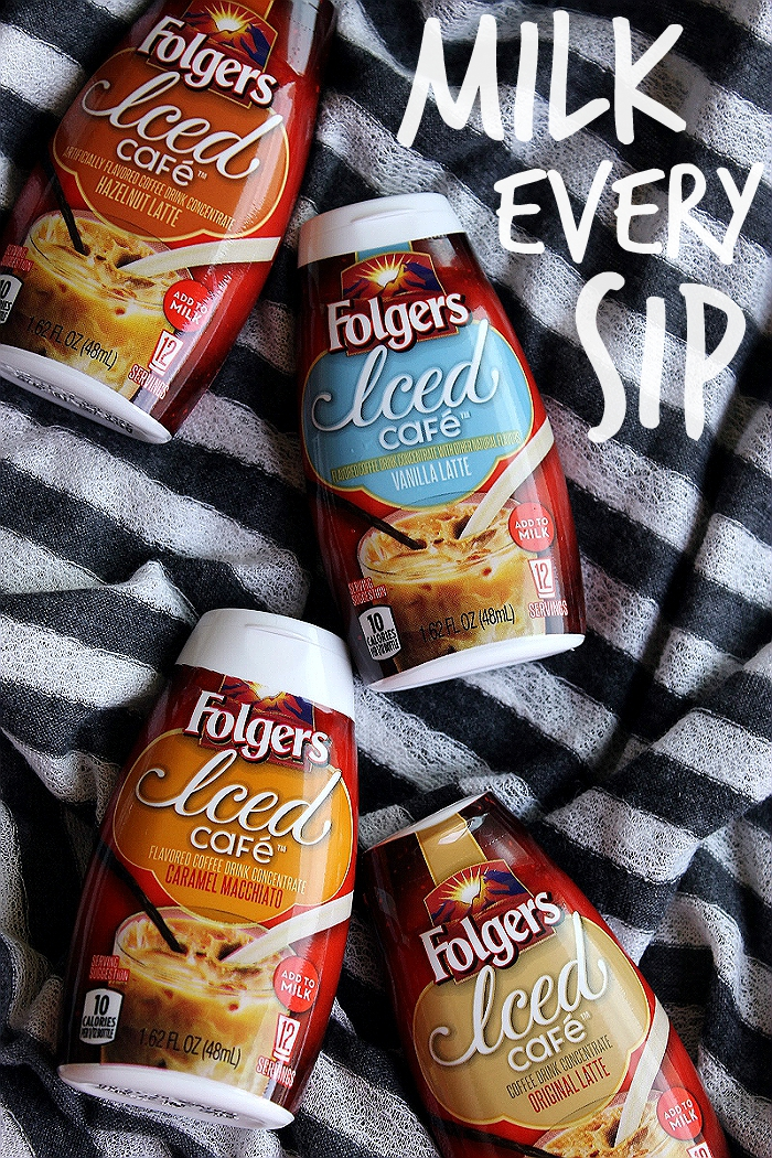 New Folgers® Iced Cafe™ varieties come in delicious flavors such as Caramel Macchiato and Hazelnut Latte. Just add 2 squirts to an iced 8oz glass of milk, or milk substitute, stir, and enjoy a cold glass of coffee flavored deliciousness anytime! #FolgersFridays #IC (sponsored)
