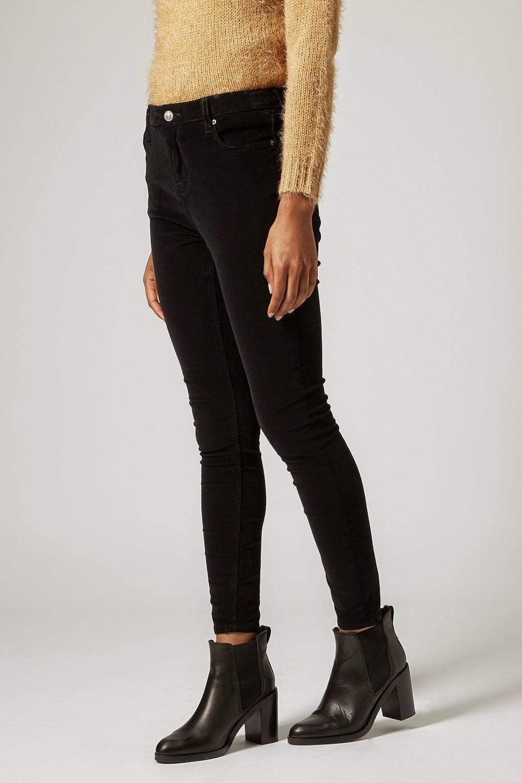 black cord skinny trousers