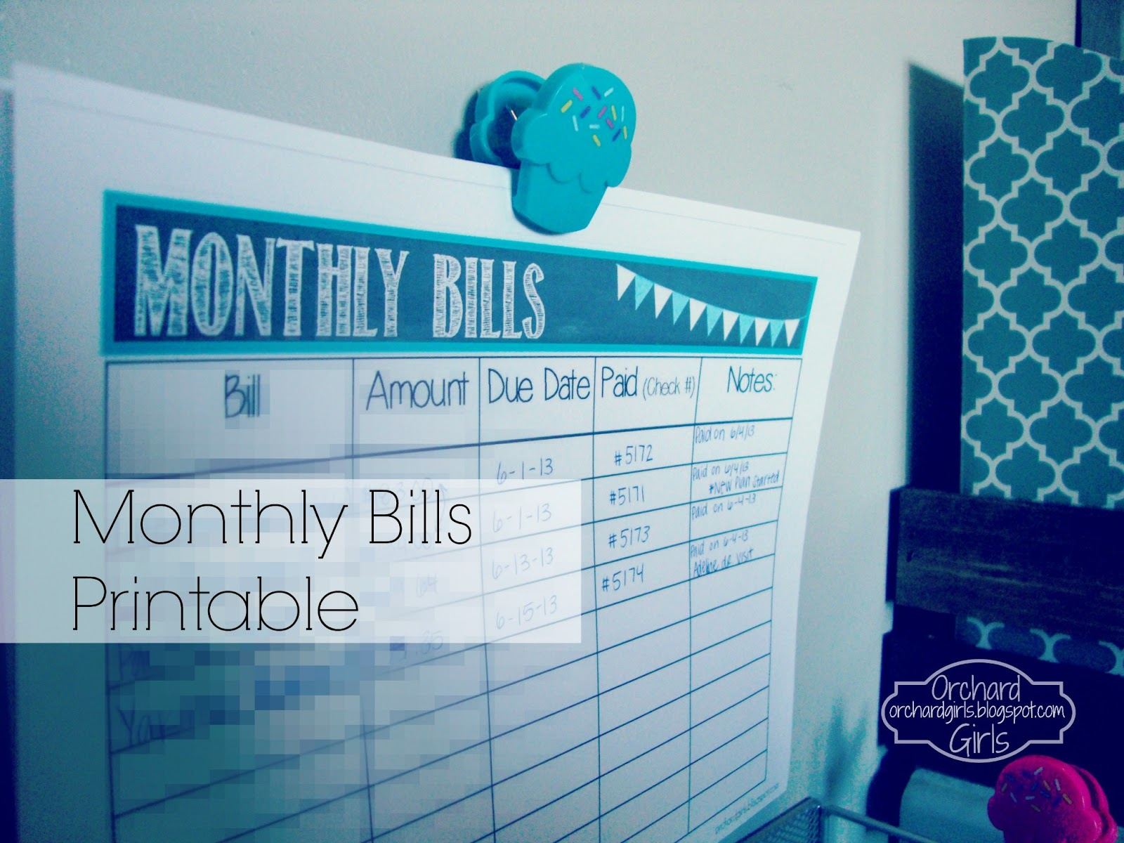 monthly bills tracker