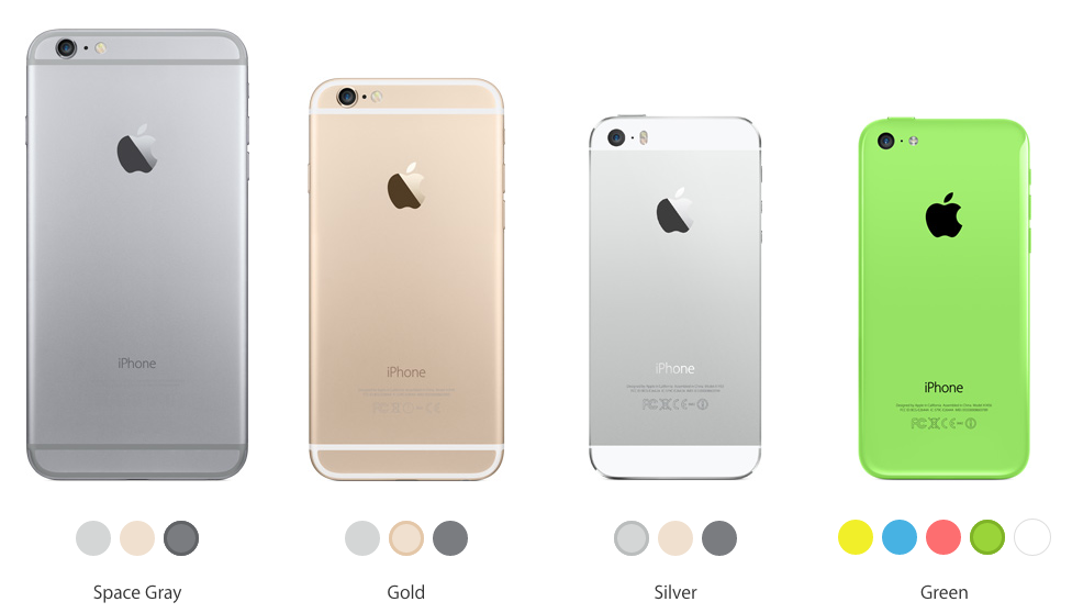 Colors of the new iPhones