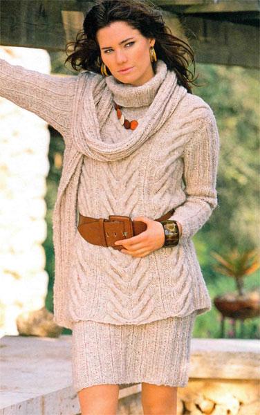 вязание спицами, пуловер, юбка, шаль, комплект