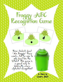 http://www.teacherspayteachers.com/Product/Frog-Themed-ABC-Recognition-Game-Free-846712