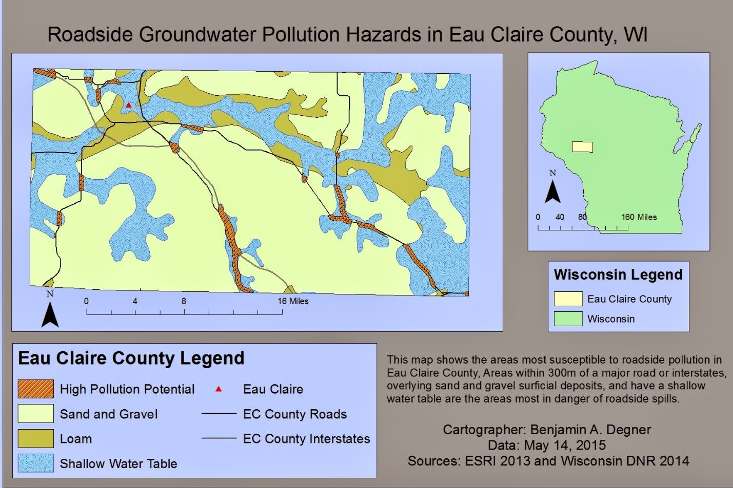 figure 2 the final map of high contamination risks in eau claire county the final outcome overlays 12 square miles in eau claire county