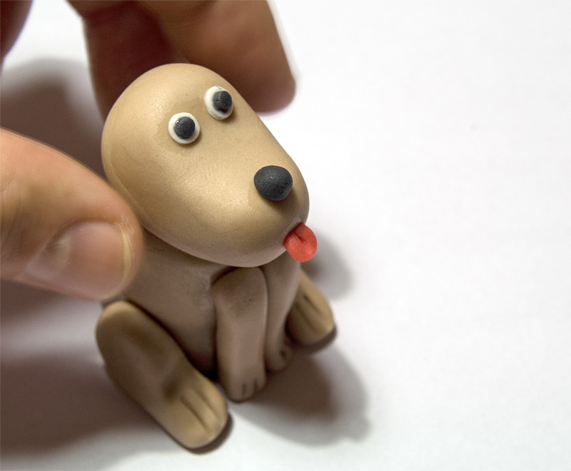 Dog fondant figurine head on body