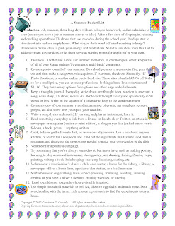 "Middle and High School ELA Lesson Plans-""A Summer Bucket List"""