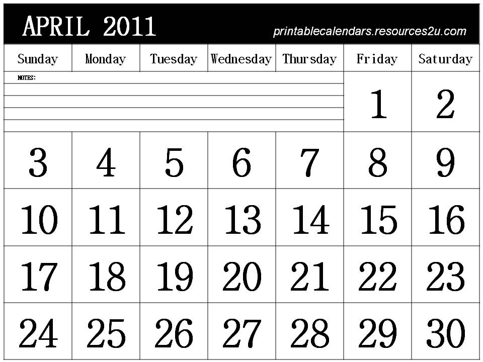 2011 april calendars. April 2011 Calendar Horizontal