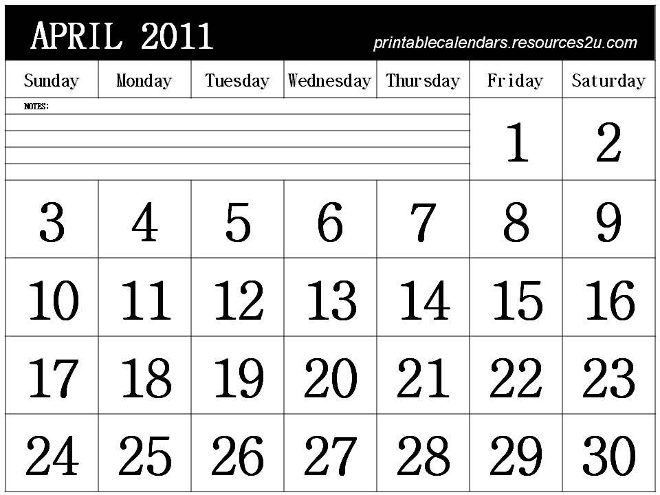 calendar 2011 april. April 2011 Calendar Horizontal