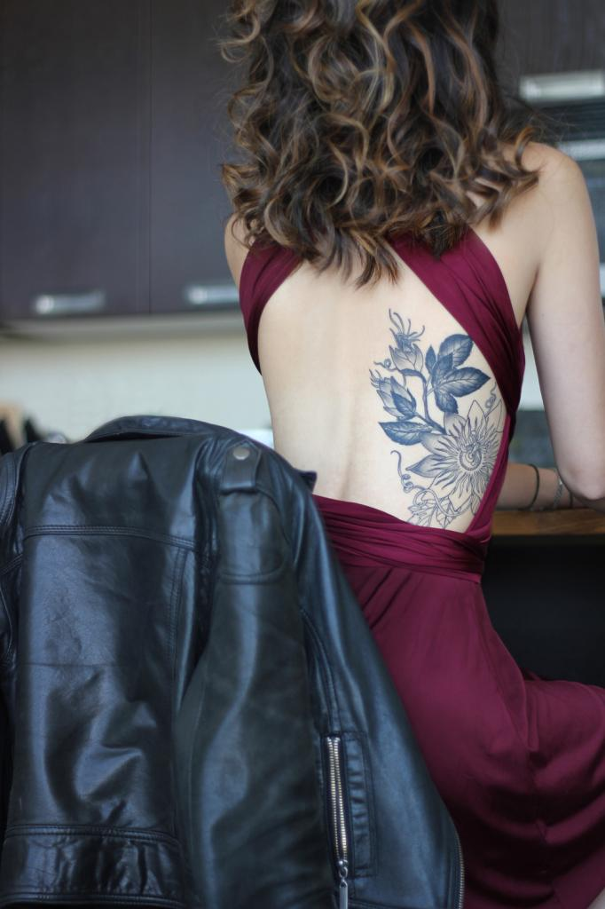 Passion Flower Tattoo by Ash Timlin and Burgundy Wine Sakura Dress from Henkaa.com