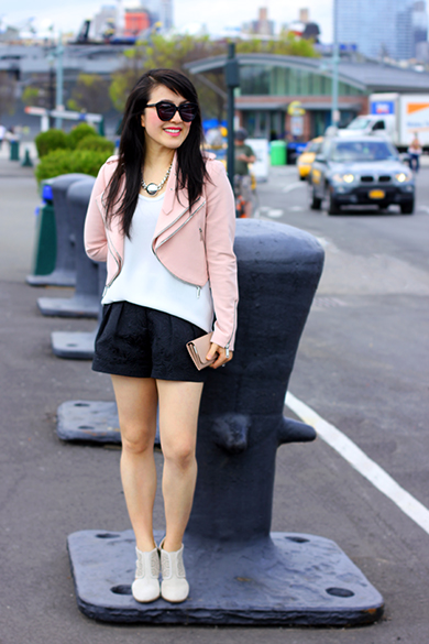 MNG white cami, Zara pink moto jacket with zips and Witchery black embroidered shorts