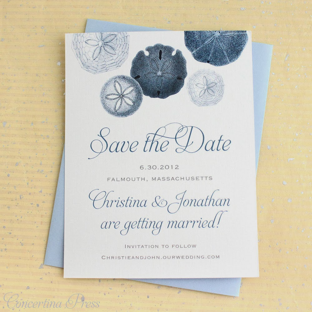 Vintage Modern Sand Dollar Save the Date from Concertina Press
