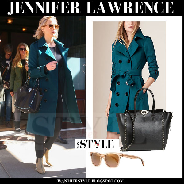 Jennifer Lawrence in wool teal burberry coat what she wore streetstyle