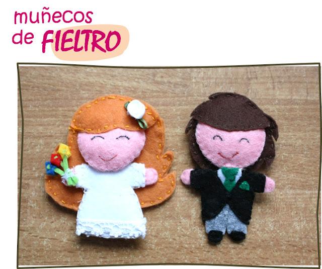 Muñecos de fieltro de novia y novio