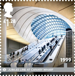 £1-28 London Underground stamp: Canary Wharf Station.