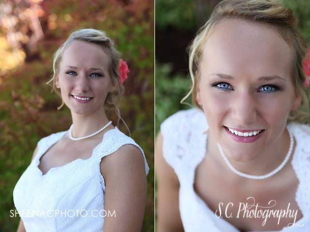 Bridal portrait pink hair flower wedding lace dress