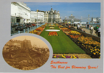 Postcard with photo of Eastbourne, West Sussex, England