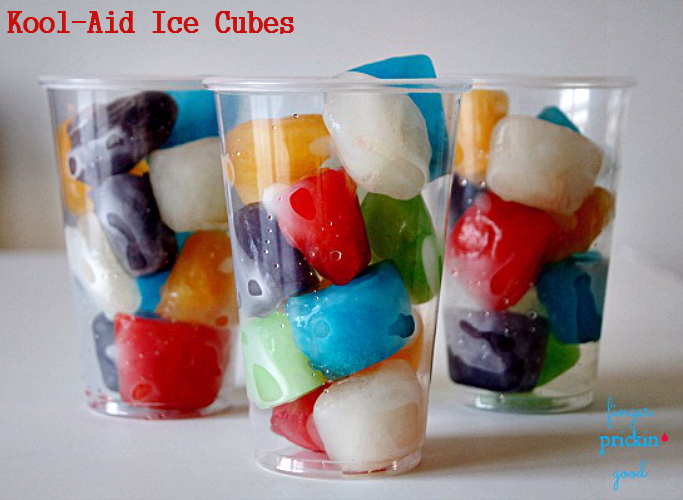 Add Kool-Aid ice cubes to seltzer water for a refreshing drink, or let toddlers use them for sesory play as watercolors.
