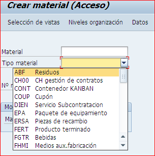 Ramos disponibles al crear un material MM01