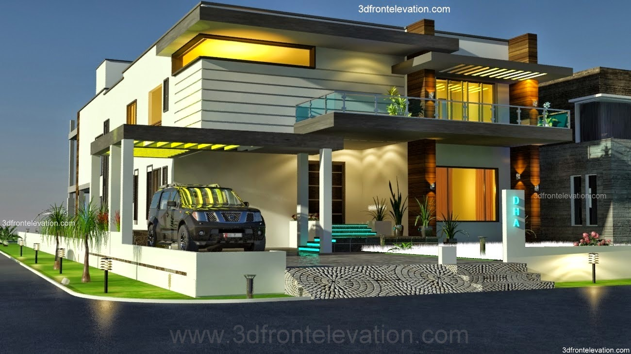 Modern house front view single floor for Modern house front view