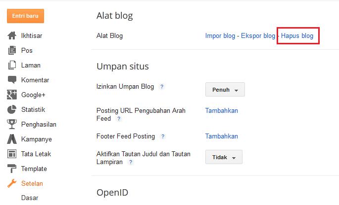 Cara Menghapus Blog Dengan Mudah