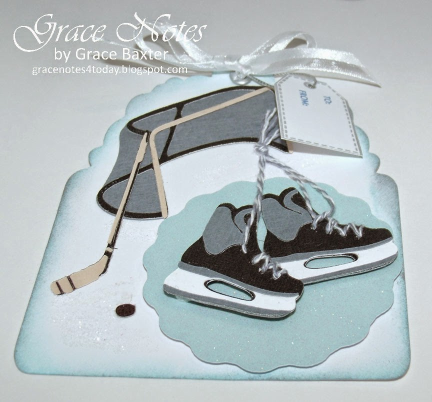 Hockey rink gift tag, skates, stick, puck and ice