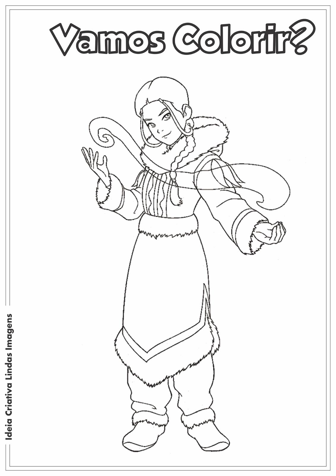 Avatar - Katara desenho para colorir