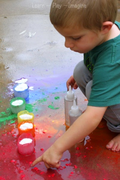 Rainbow eruption sensory play