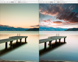 Before and After images showing a plain Okanagan Sunrise and an improved photoshop version with a better sky dropped into it.
