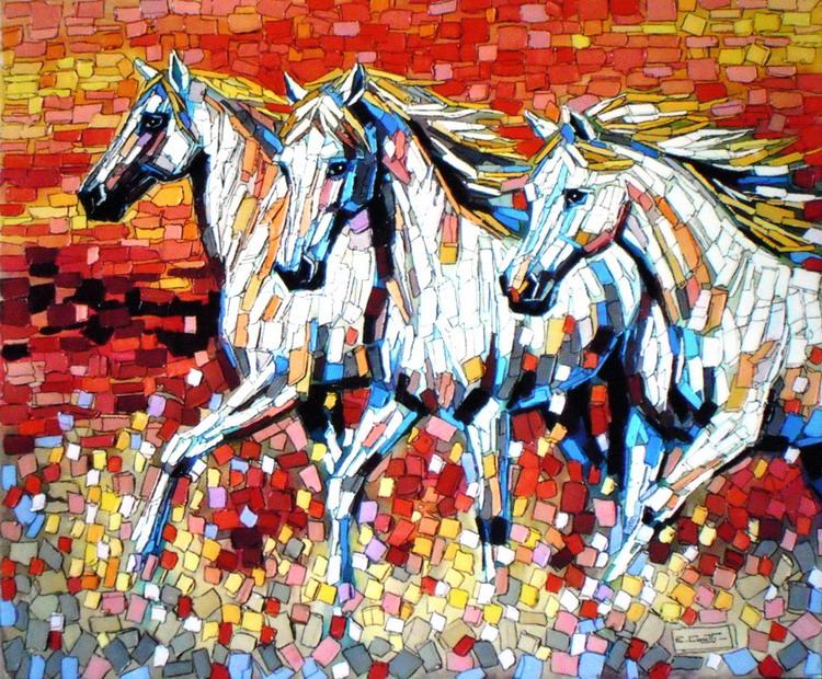 cuadros modernos caballos corriendo