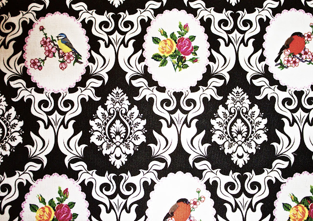 damask, Designer fabric, costume textile, birds, cotton