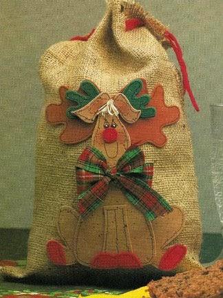 Saquinho de tecido para o natal com moldes