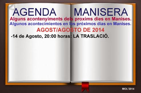 AGENDA MANISERA SEMANA 33 DE 2014