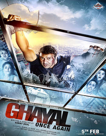 Poster Of Ghayal Once Again 2016 Hindi 140MB  HEVC Mobile Watch Online Free Download Worldfree4u