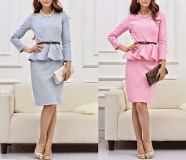 Light Pastel Blue/Pink Long Sleeve Peplum Dress
