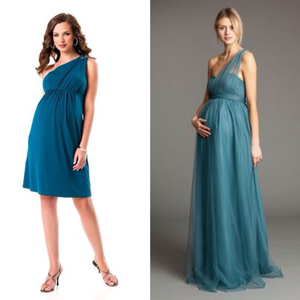 one shoulder pregnant bridesmaid dresses