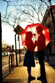 Two people almost kissing beneath a red umbrella book cover.