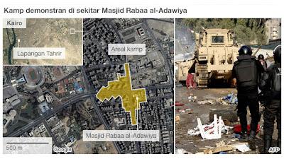 Peta Konsentrasi Demonstran di Masjid Rabaa Al Adawiya